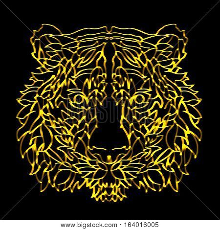 The tiger made in gold swoosh lines at black background