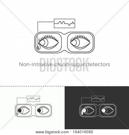 Vector illustration of future medicine trend. Medical gadgets and technological innovations. Thin line concept icon. Non-intrusive blood-sugar detector in VR-glasses.