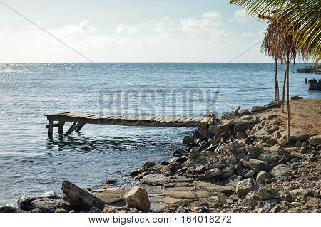 Beautiful tropical coast of the Caribbean sea by the little town of Omoa in Honduras. Central America
