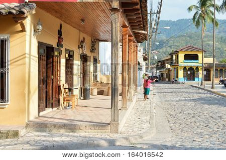 Copan Ruinas Honduras - May 10 2015: The view of the main plaza of a small colonial town of Copan Ruinas in Honduras, Central America