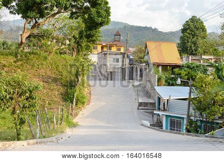 The streets and hills of a small colonial town of Copan Ruinas in Honduras Central America