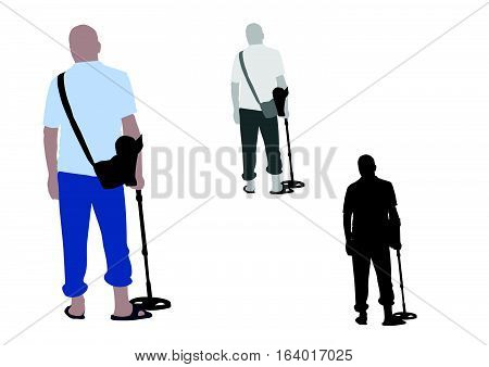 Man With Slippers And Bag Using Metal Detector