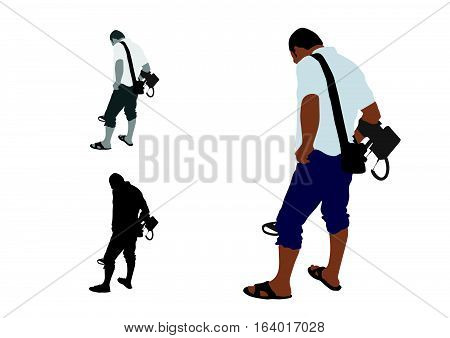 Man With Shorts And Slippers Using Metal Detector
