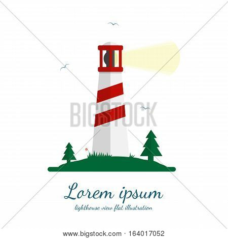 Lighthouse vector illustration in flat design. Beacon on island with trees, grass and seagulls. Isolated on white background.