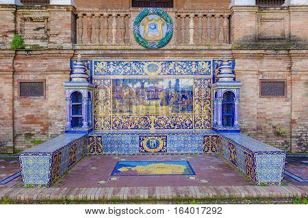 Seville, Spain - January 2, 2017: Glazed tiles bench of spanish province of Vizcaya at Plaza de Espana Seville Spain