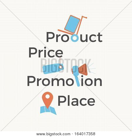 Marketing mix model vector illustration - 4P: product, price, place, promotion. Decorative set in a flat design. Business concept.