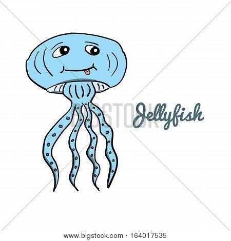 Cute cartoon jellyfish. Ocean animal vector illustration.Sea creature, Medusa, in a funny, hand drawn style.