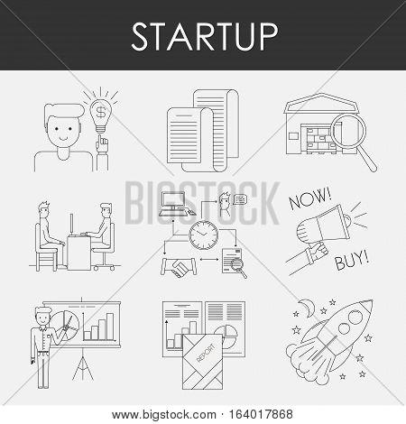 Business icons. Start up and management signs. Line art vector illustration.