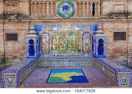 Seville, Spain - January 2, 2017: Glazed tiles bench of spanish province of Santander at Plaza de Espana Seville Spain