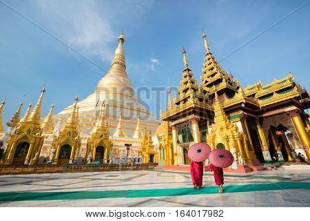 Little monk at Shwedagon pagoda Yangon Myanmar