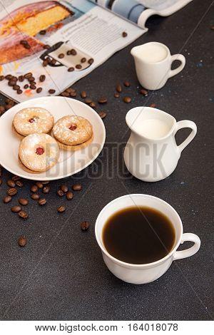 Coffee Break. Morning Breakfast. Cup Of Coffee And Cookies
