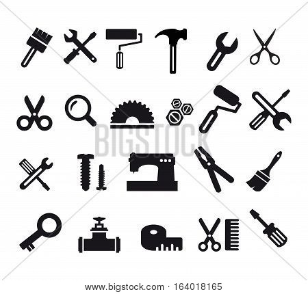 A set of flat tools computer icons.