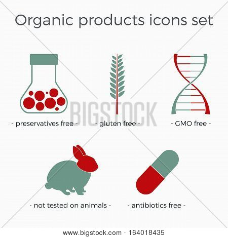 Vector organic products icons set in a flat design. Can be used for package or booklet design, as a part of infographics or site elements.