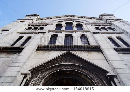 Facade of the famous Sacre-Coeur basilica in Paris France