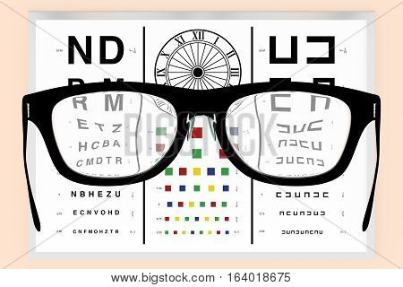eyeglasses in front of a vision test to visual correction of diopters. Optometry optical correction and healthcare concept. 3d render 3d illustration