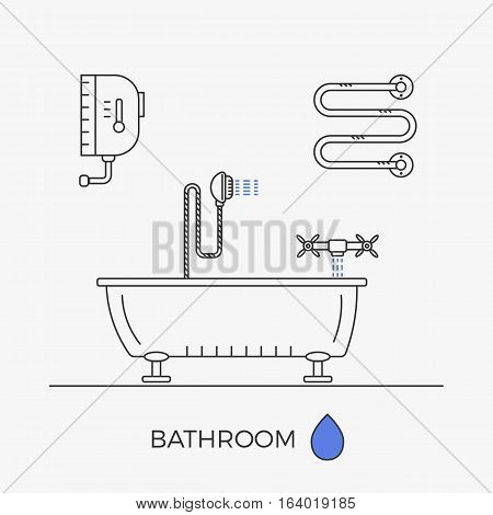 Bathroom interior. Elements for showerroom. Vector illustration of outlined objects.