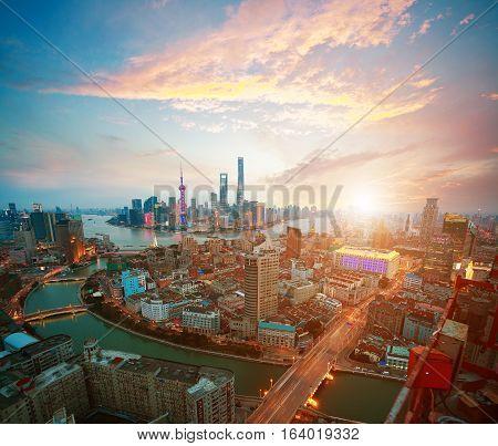 Aerial photography bird view at Shanghai bund Skyline of sunrise