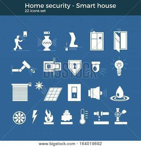 Smart home automation vector icons set. House security items included. Flat design for modern infographic or logo concept. Dark background, blueprint style.