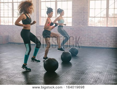 Women Exercising In Aerobics Class