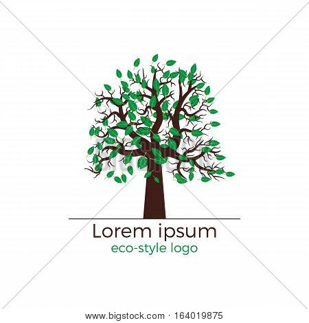 Vector logo design for ecology oriented projects. Detailed tree with green leaves. Beautiful and stylish.