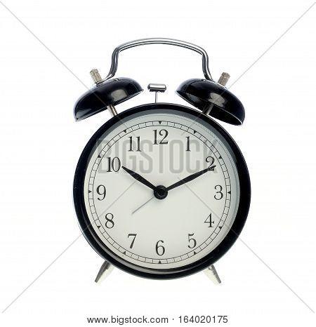 black alarm clock, isolated on white background