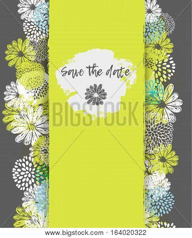 Vector card with lemon, white, blue stylized doodle flowers and place for your text on gray background.