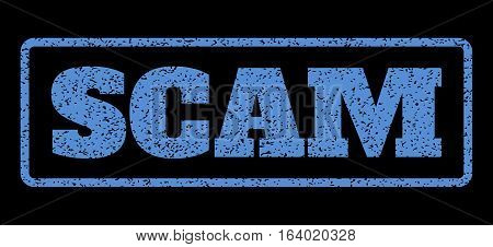 Blue rubber seal stamp with Scam text. Vector tag inside rounded rectangular banner. Grunge design and scratched texture for watermark labels. Horisontal sticker on a black background.