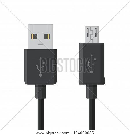 Micro USB cables isolated on white background. Connectors and sockets for PC and mobile devices.