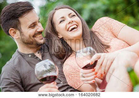 Attractive couple on picnic drinking red wine.They are making a toast with a glass of wine.