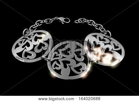 Ladies silver bracelet - Stainless Steel - Isolated poster