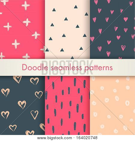 Set of vector memphis doodle backgrounds with hearts, crosses, triangles, circles, dots, made of brush stroke. Gray, pink, beige colors. Seamless pattern is in the swatches palette.