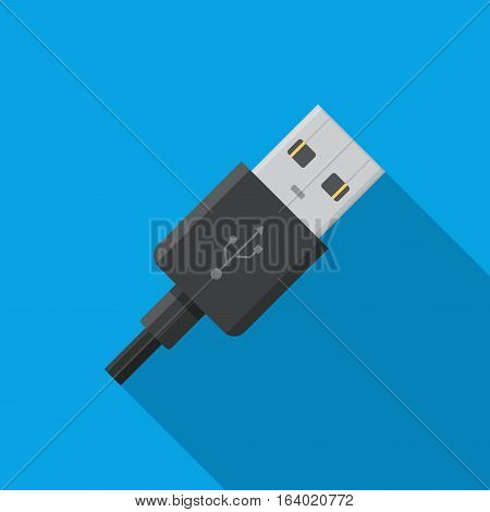 USB cable connector cord icon on blue background in flat style.