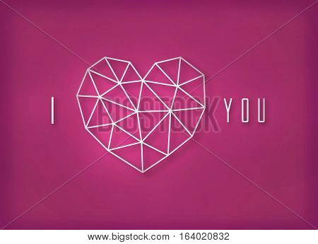 Vector geometric silver heart made of triangle grid on pink background. Big icon made of thin line.