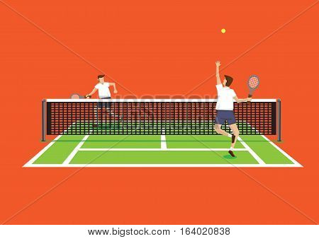 Vector illustration of two tennis players in tennis court and one serving tennis ball isolated on bright orange background.