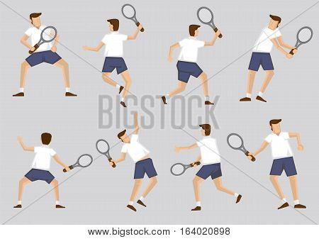 Male tennis player holding racquet in various poses. Vector illustration cartoon character clip art set isolated on plain background.