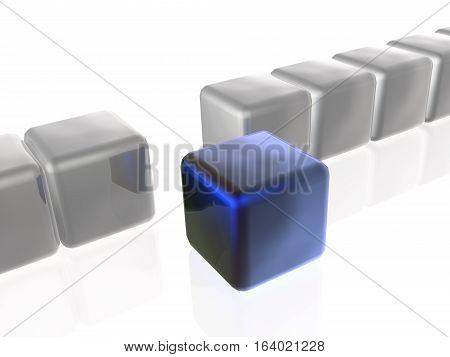 Blue and grey cubes as abstract background 3D illustration.