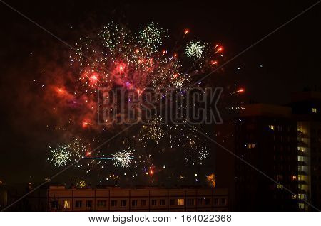 new year fireworks in berlin with tv tower in background
