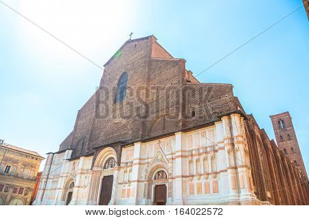 Perspective view of Balisica of San Petronio on the Piazza Maggiore or main square, Bologna, Italy. It is the largest church built in bricks in the world.