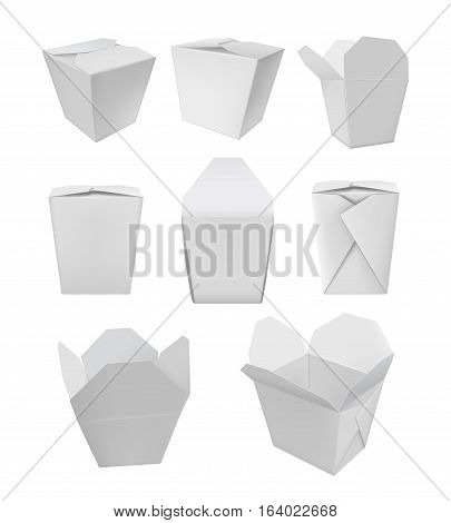 Realistic take away food box mock up set on white background vector illustration. Isolated wok or noodle packaging. Blank white 3d model cardboard noodle package, wok container, asian empty food box. Noodle packaging design. Takeaway noodle box.