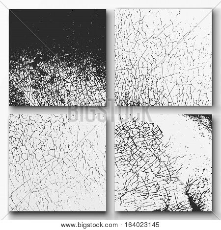 Set of grunge textures - abstract stock vector template with craquelure, cracks, scratches.