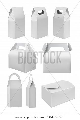 Realistic take away blank food box mock up set isolated on white background. Vector food packaging box layout. Blank white 3d model cardboard carry package, product container, empty food box. Food packaging template. Takeaway food box or cake box.