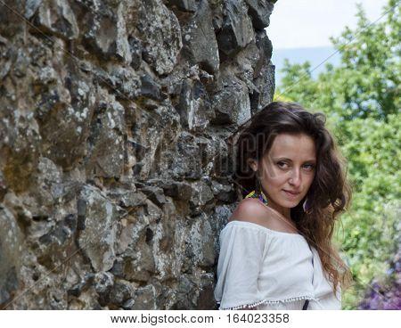 Pretty Girl At Stony Wall