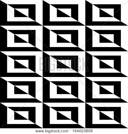 Seamless geometric pattern by stripes. Modern background with repeating lines. Seamless geometric background. Black and white pattern