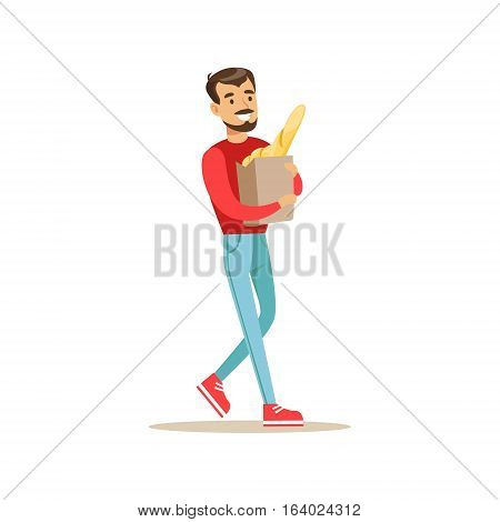 Smiling Man With A Beard Carrying Paper Bag With Fresh Bread Bought In a Bakery Shop Vector Illustration. Happy Cartoon Character At The Cafe Flat Drawing From Coffee And Pastry Shop Series.