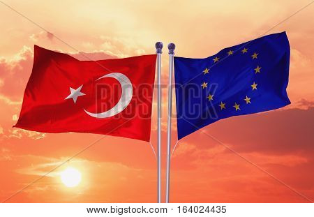 Flags of the Turkey and the European Union. Turkey Flag and EU Flag. World flag money concept.