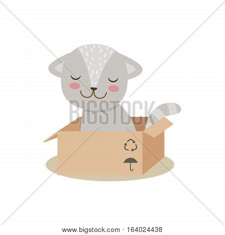 Little Girly Cute Kitten Sitting In Cardboard Box, Cartoon Pet Character Life Situation Illustration. Cat Humanized Baby Animal And Its Activity Emoji Flat Vector Drawing