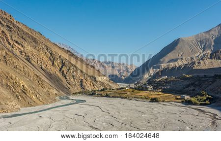 Wide and almost dry river bed. Kali Gandaki valley - Annapurna circuit trek in Nepal.