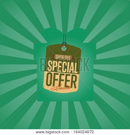 Special offer sale sticker isolated vector illustration. Best price tag, exclusive offer discount, super sale, advertisement retail label, special shopping symbol. Vintage graphic style offer sign