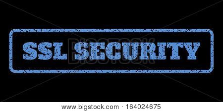 Blue rubber seal stamp with SSL Security text. Vector caption inside rounded rectangular frame. Grunge design and scratched texture for watermark labels. Horisontal sticker on a black background.