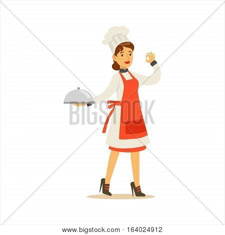 Woman Professional Cooking Chef Working In Restaurant Wearing Classic Traditional Uniform Showing OK Gesture Cartoon Character Illustration